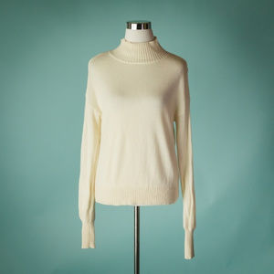 Joie XS Ivory Cashmere Wool Mock Neck Sweater